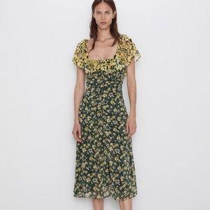 Zara Floral Off the Shoulder Dress